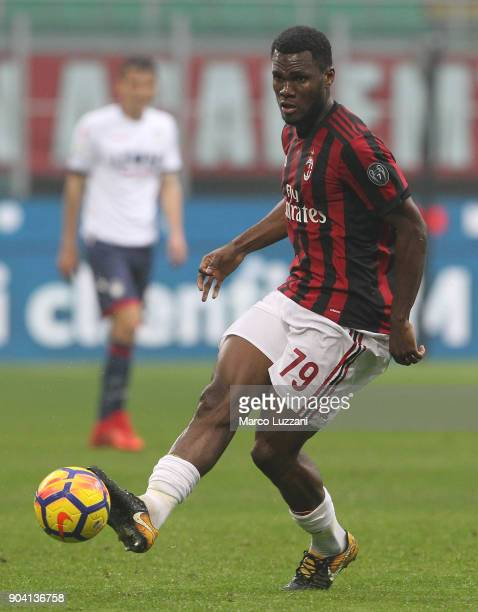 Franck Kessie of AC Milan in action during the serie A match between AC Milan and FC Crotone at Stadio Giuseppe Meazza on January 6 2018 in Milan...