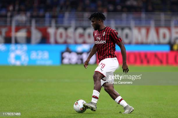 Franck Kessie of Ac Milan in action during the the Serie A match between Ac Milan and Spal Ac Milan wins 10 over Spal