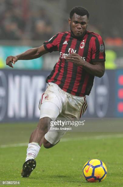Franck Kessie of AC Milan in action during the TIM Cup match between AC Milan and SS Lazio at Stadio Giuseppe Meazza on January 31 2018 in Milan Italy