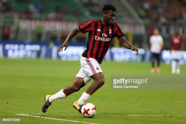 Franck Kessie of Ac Milan in action during the UEFA Europa League Qualifying PlayOffs round first leg match between AC Milan and KF Shkendija AC...