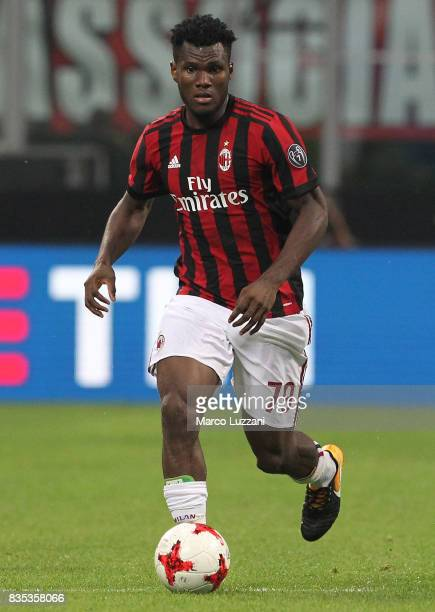 Franck Kessie of AC Milan in action during the UEFA Europa League Qualifying PlayOffs round first leg match between AC Milan and KF Shkendija 79 at...