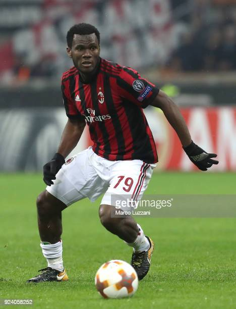 Franck Kessie of AC Milan in action during UEFA Europa League Round of 32 match between AC Milan and Ludogorets Razgrad at the San Siro on February...