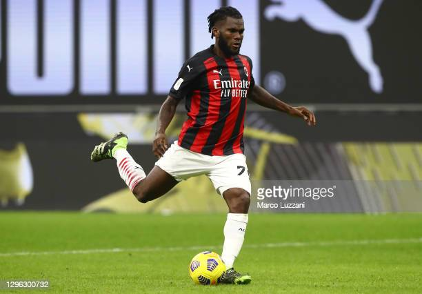 Franck Kessie of AC Milan kick a penalty during the Coppa Italia match between AC Milan and Torino FC at Stadio Giuseppe Meazza on January 12, 2021...