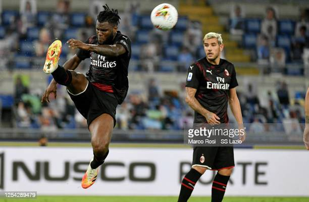 Franck Kessie of AC Milan kicks the ball during the Serie A match between SS Lazio and AC Milan at Stadio Olimpico on July 04 2020 in Rome Italy