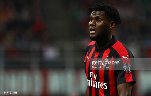 Franck Kessie of AC Milan looks on during the Serie A match between AC Milan and Bologna FC at Stadio Giuseppe Meazza on May 6 2019 in Milan Italy