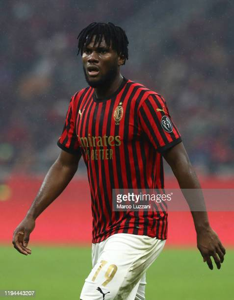 Franck Kessie of AC Milan looks on during the Serie A match between AC Milan and US Sassuolo at Stadio Giuseppe Meazza on December 15 2019 in Milan...