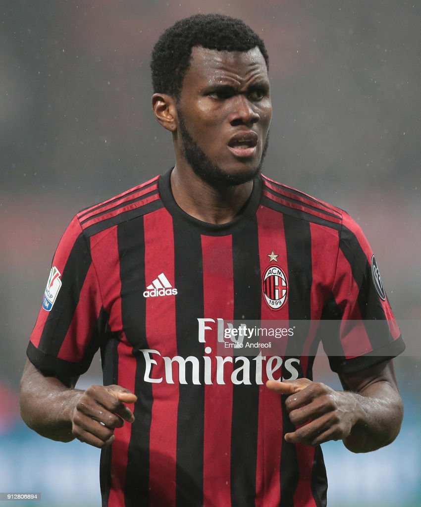 Franck Kessie of AC Milan looks on during the TIM Cup match between AC Milan and SS Lazio at Stadio Giuseppe Meazza on January 31, 2018 in Milan, Italy.
