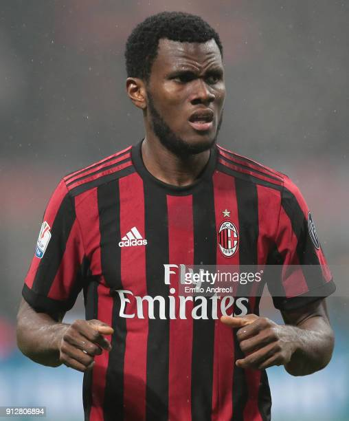 Franck Kessie of AC Milan looks on during the TIM Cup match between AC Milan and SS Lazio at Stadio Giuseppe Meazza on January 31 2018 in Milan Italy