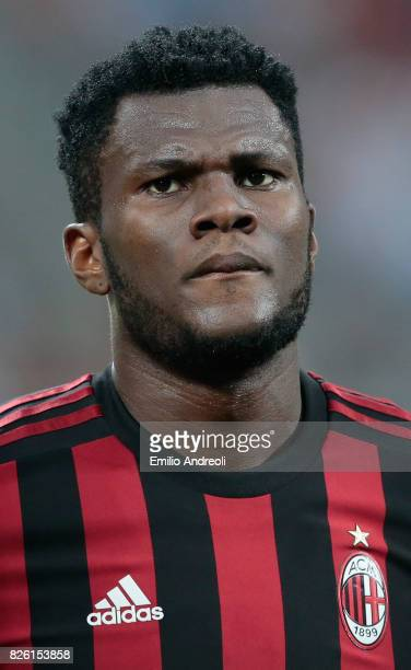 Franck Kessie of AC Milan looks on during the UEFA Europa League Third Qualifying Round Second Leg match between AC Milan and CSU Craiova at Stadio...
