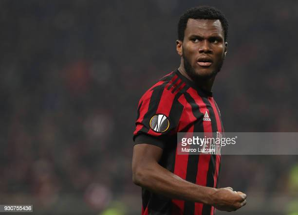 Franck Kessie of AC Milan looks on during UEFA Europa League Round of 16 match between AC Milan and Arsenal at the San Siro on March 8 2018 in Milan...