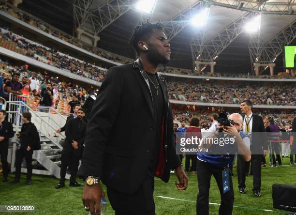 Franck Kessie of AC Milan walks on pitch prior to the Italian Supercup match between Juventus and AC Milan at King Abdullah Sports City on January 16...
