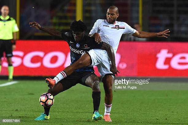 Franck Kessie of Atalanta and Haitam Aleesami of Palermo compete for the ball during the Serie A match between Atalanta BC and US Citta di Palermo at...