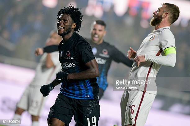 Franck Kessie of Atalanta BC celebrates after scoring the winning goal during the Serie A football match between Atalanta BC and AS Roma