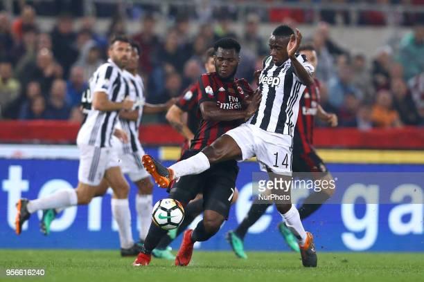 Franck Kessie of Milan and Blaise Matuidi of Juventus during the TIM Cup Final between Juventus and AC Milan at Stadio Olimpico on May 9 2018 in Rome...