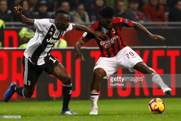 Franck Kessie of Milan and Blaise Matuidi of Juventus vie for the ball during the Lega Seria A match between AC Milan and Juventus FC on November 11...
