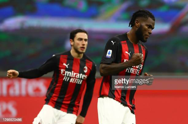 Franck Kessie of Milan celebrates after scoring their sides second goal form the penalty spot during the Serie A match between AC Milan and Torino FC...