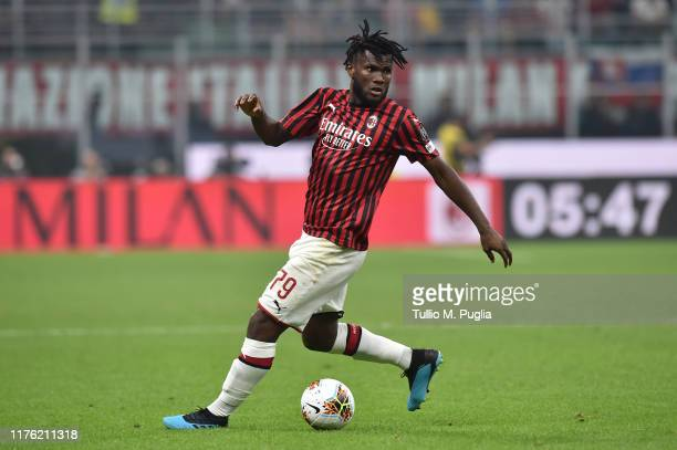 Franck Kessie of Milan in action during the Serie A match between AC Milan and FC Internazionale at Stadio Giuseppe Meazza on September 21 2019 in...