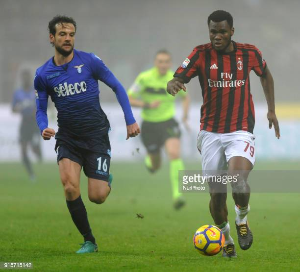 Franck Kessie of Milan player and Marco Parolo of Lazio player during the match valid for Italian Football Championships Serie A 20172018 between AC...