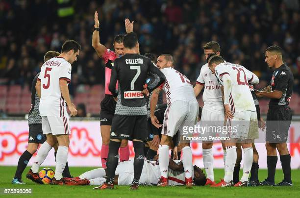 Franck Kessie player of AC Milan injured during the Serie A match between SSC Napoli and AC Milan at Stadio San Paolo on November 18 2017 in Naples...