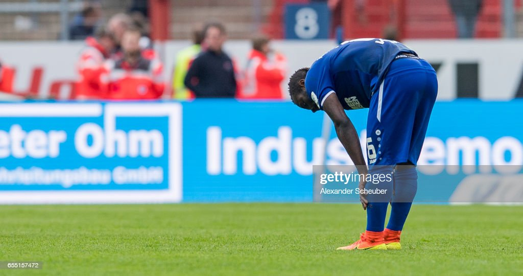 Franck Kom jj reacts during the Second Bundesliga match between Karlsruher SC and Fortuna Duesseldorf at Wildparkstadion on March 19, 2017 in Karlsruhe, Germany.