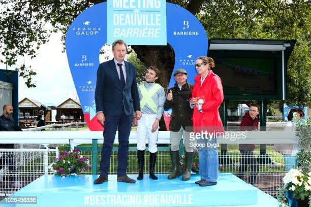 Franck LE MESTRE with Shere Calm ridden by Hugo Journiac trainer Georges DOLEUZE owner Claire STEPHENSON during the Prix du Bocage Normand at...
