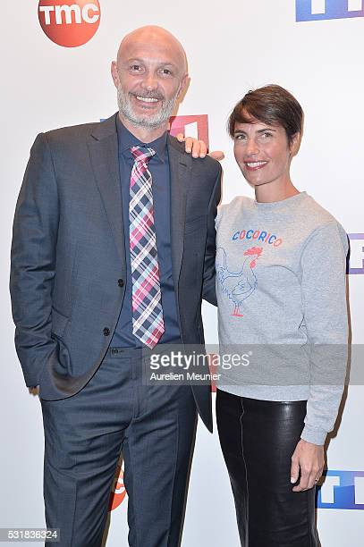 Franck Leboeuf and Alessandra Sublet attend the UEFA press conference photocall at TF1 on May 17 2016 in Paris