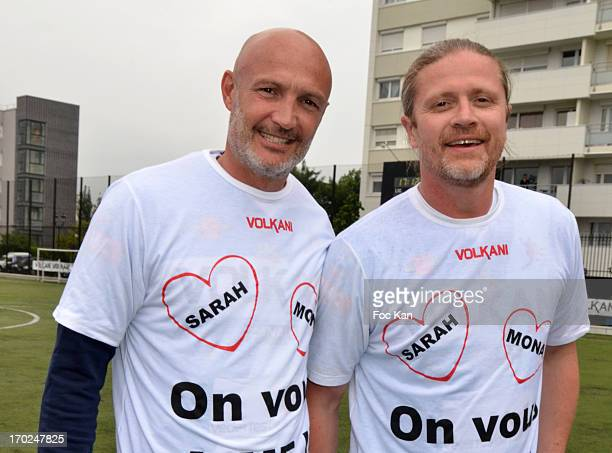 Franck Leboeuf and Emmanuel Petit attend the 'Fete Du Foot' By Association Citestars and 'Jubile David Donadei' at the Stade Louison Bobet on June 9...