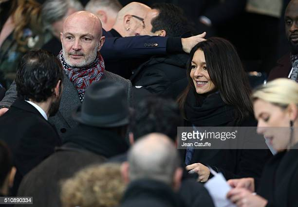 Franck Leboeuf and his girlfriend Chrislaure Nollet attend the UEFA Champions League round of 16 first leg match between Paris SaintGermain and...