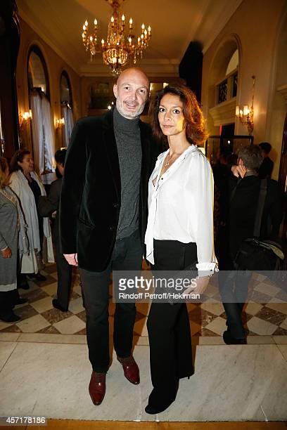 Franck Leboeuf and his wife Chrislaure Nollet attend the Nathalie Garcon's Book Signing Cocktail Party At Hotel Regina on October 13 2014 in Paris...