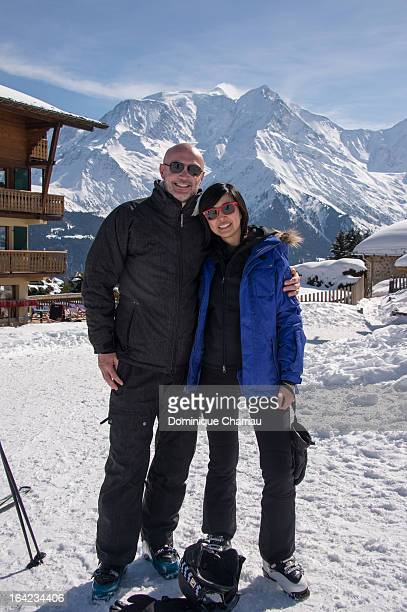 Franck Leboeuf and LinhDan Pham poses during the 29th international festival MontBlanc d'humour on March 21 2013 in SaintGervaislesBains France