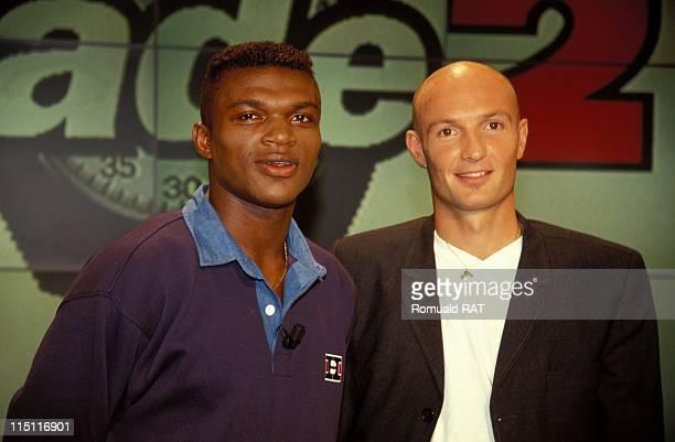 Franck Leboeuf and Marcel Dessailly at 'stade 2' TV show in Paris France in September 1998 Marcel Desailly Franck Leboeuf
