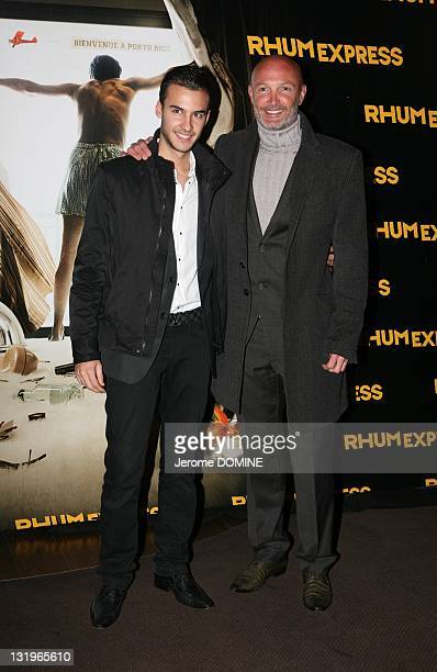 Franck Leboeuf and son Hugo attend the 'Rhum Express' Paris Premiere at Cinema Gaumont Marignan on November 8 2011 in Paris France