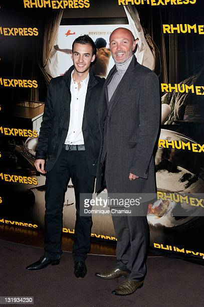 Franck Leboeuf and Son Hugo attend the'Rhum Express' Paris Premiere at Cinema Gaumont Marignan on November 8 2011 in Paris France