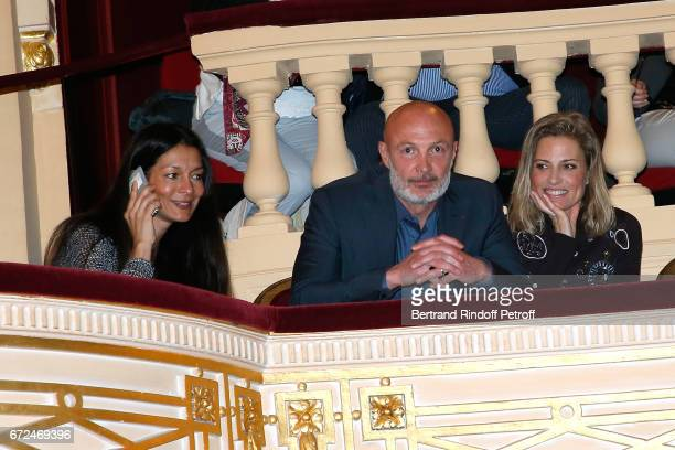 Franck Leboeuf sitting between his wife and Christine Lemler attend 'La Recompense' Theater Play at Theatre Edouard VII on April 24 2017 in Paris...