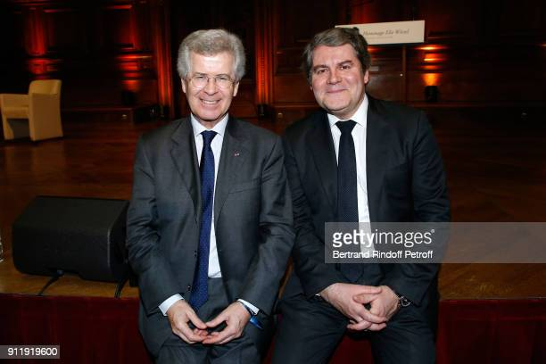 Franck Louvrier and guest attend the Tribute to ELie Wiesel by Maurice Levy X Publicis Group at 'La Sorbonne' on January 29 2018 in Paris France