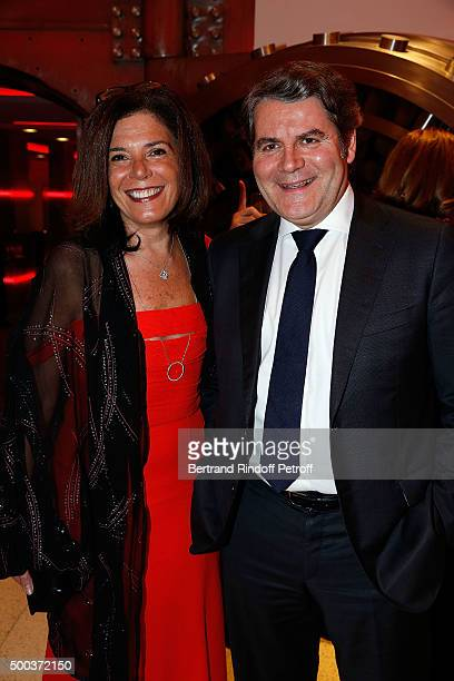 Franck Louvrier and his wife attend the Charity Dinner 'LINK for AIDES' during the 'Art is Hope' Exhibition at Place Vendome on December 7 2015 in...
