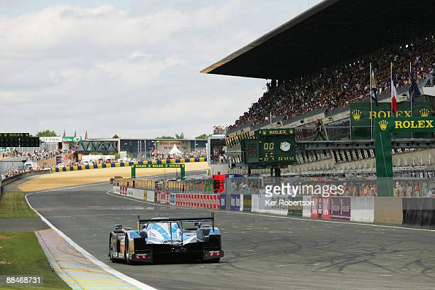 Franck Montagny of France and Team Peugeot Total leads at the start of the 77th running of the Le Mans 24 Hour race at the Circuit des 24 Heures du...