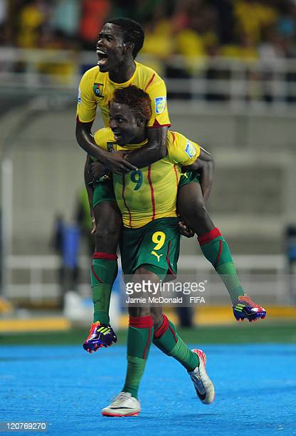 Franck Ohandza of Cameroon celebrayes his goal with Idriss Nguessi during the FIFA U20 World Cup Round of 16 match between Cameroon and Mexico at the...