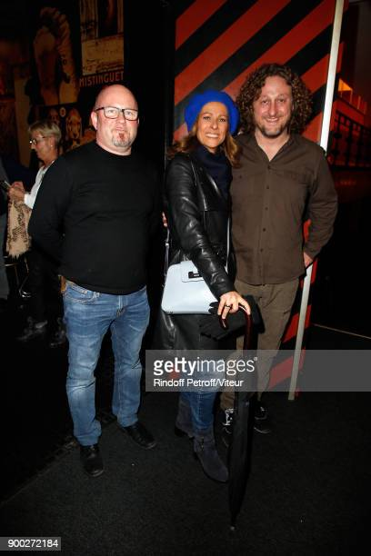 Franck Perrot Anne Gravoin and David Mignot celebrate the new year with Laurent Gerra during 'Laurent Gerra Sans Moderation at L'Olympia on December...