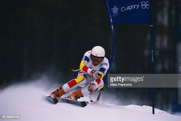 Franck Piccard from France during the men's Super G of the 1988 Winter Olympics in which he won the gold medal.