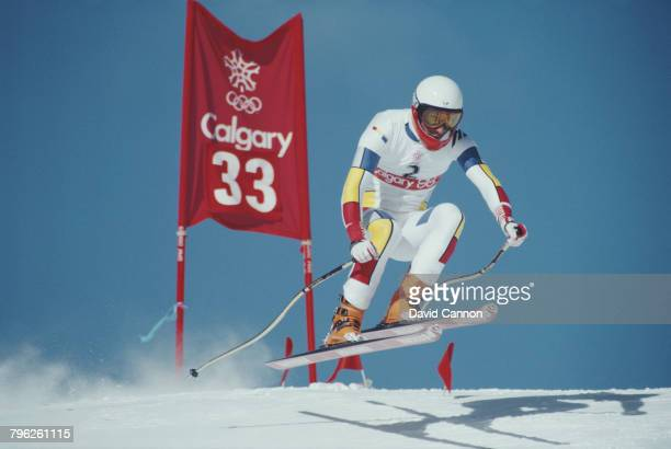 Franck Piccard of France skiing in the Men's Combined Downhill event on 16 February 1988 during the XV Olympic Winter Games in Nakiska Calgary...
