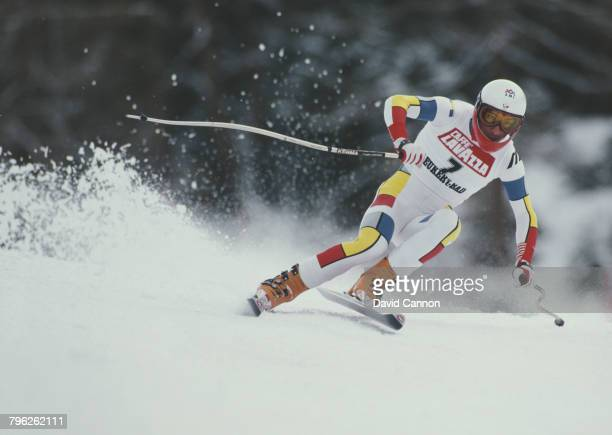 Franck Piccard of France skiing in the Men's Downhill event at the International Ski Federation FIS Alpine Skiing World Cup event on 17 January 1988...