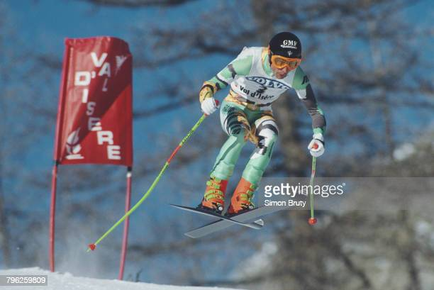 Franck Piccard of France skiing the Men's Downhill event at the International Ski Federation FIS Alpine Skiing World Cup on 8 December 1990 in Val...