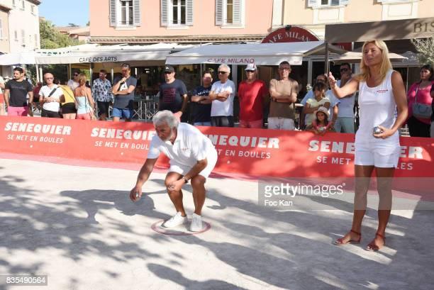 Franck Provost plays during the Trophee Senequier Petanque competition at Place des Lices SaintTropez on August 18 2017 in SaintTropez France