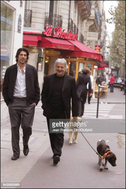 Franck Provost with his son Fabien and their respective dogs Arius and Matteo