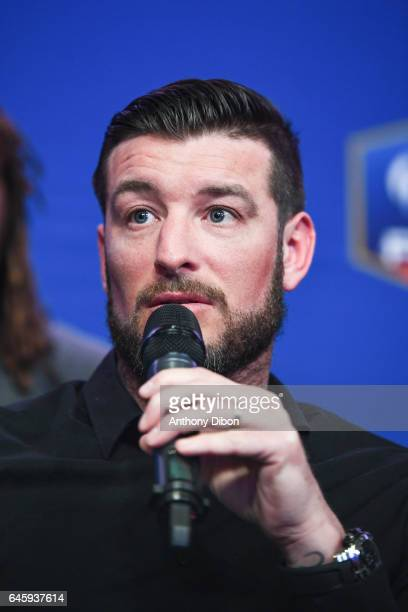 Franck Queudrue during press conference of David Donadei presentation his team for the presidential election at Federation Francaise de Football on...