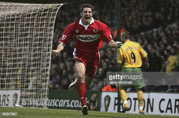 Franck Queudrue of Middlesbourgh celebrates his first goal during the Barclays Premiership match between Norwich City and Middlesbrough at on January...