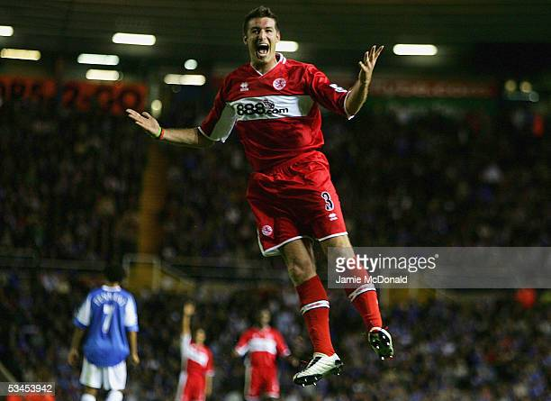 Franck Queudrue of Middlesbrough celebrates his goal during the Barclays Premiership match between Birmingham City and Middlesbrough at St Andrew's...