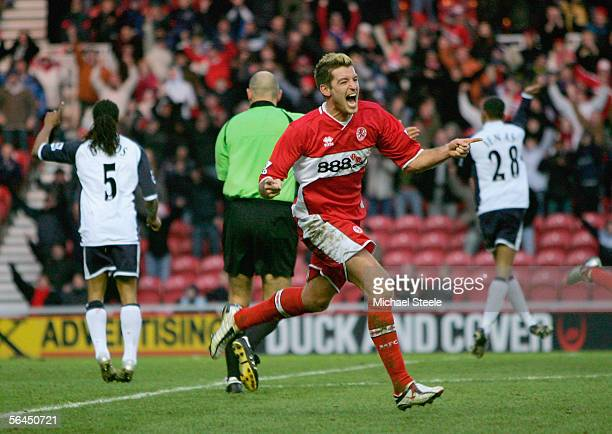 Franck Queudrue of Middlesbrough celebrates scoring the third goal during the Barclays Premiership match between Middlesbrough and Tottenham Hotspur...