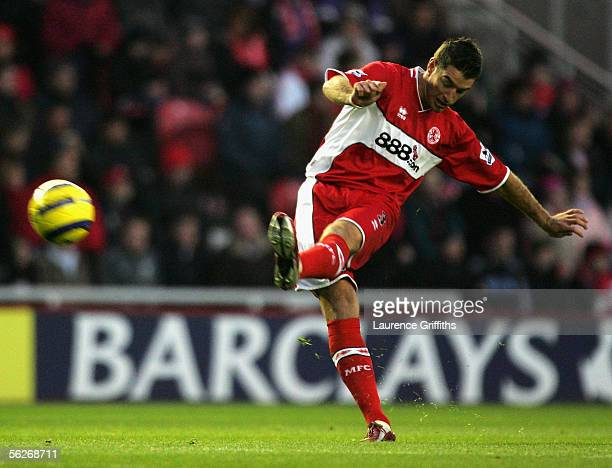 Franck Queudrue of Middlesbrough in action during the Barclays Premiership match between Middlesbrough and Fulham on November 20 2005 at The...
